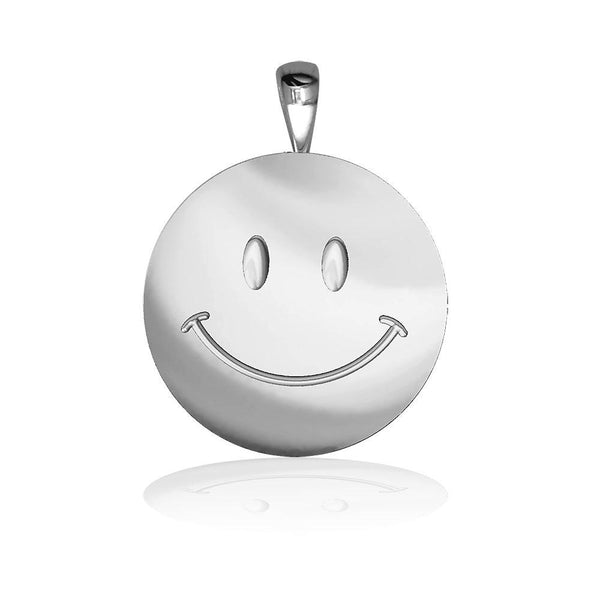 Medium Happy, Smiley Face Charm in Sterling Silver