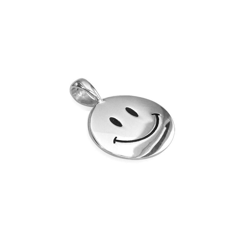 Small Happy, Smiley Face Charm with Black in Sterling Silver