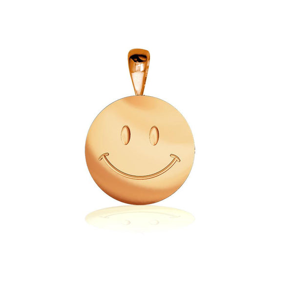 Small Happy, Smiley Face Charm in 14K Pink, Rose Gold