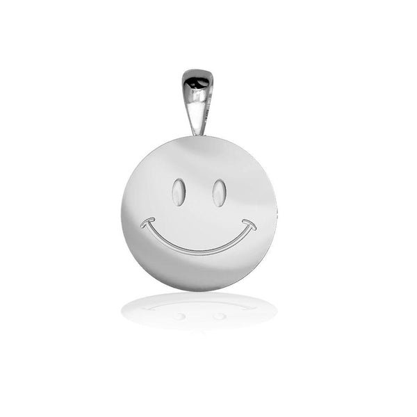 Small Happy, Smiley Face Charm in Sterling Silver