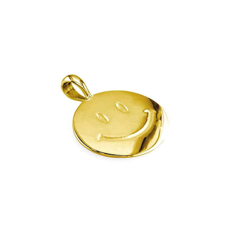 Small Happy, Smiley Face Charm in 14K Yellow Gold