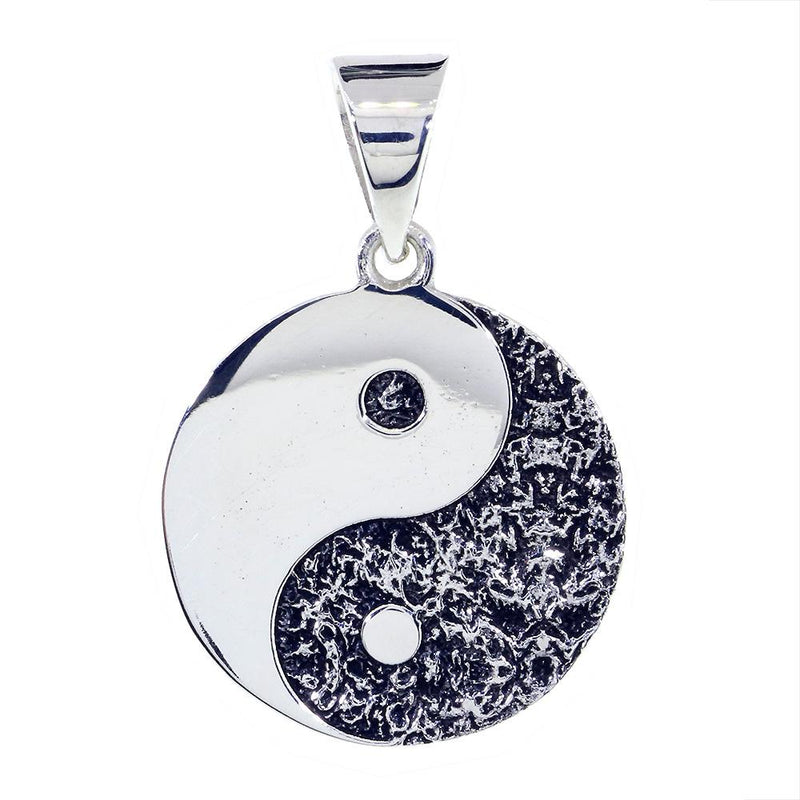 Large Yin Yang Medallion Charm Pendant with Black, Two-sided,Reversible, 1 inch in Sterling Silver