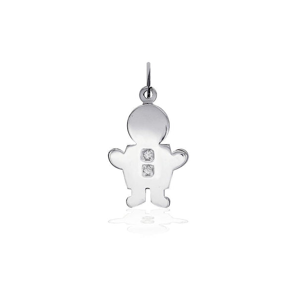 Sziro Boy Charm for Mom, Grandma with Diamond Buttons in 14k White Gold