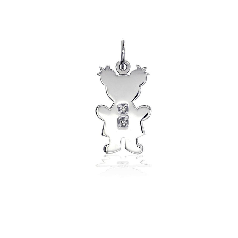 Sziro Girl Charm for Mom, Grandma with Diamond Buttons in 14k White Gold