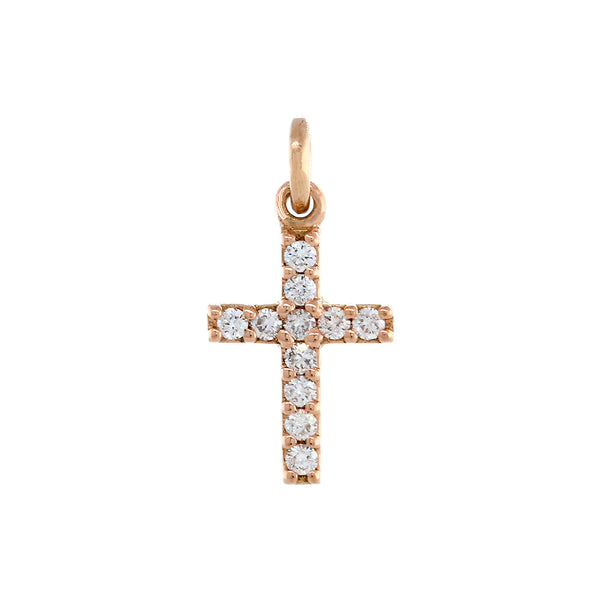 Mini Diamond Cross Charm in 14K Pink, Rose Gold