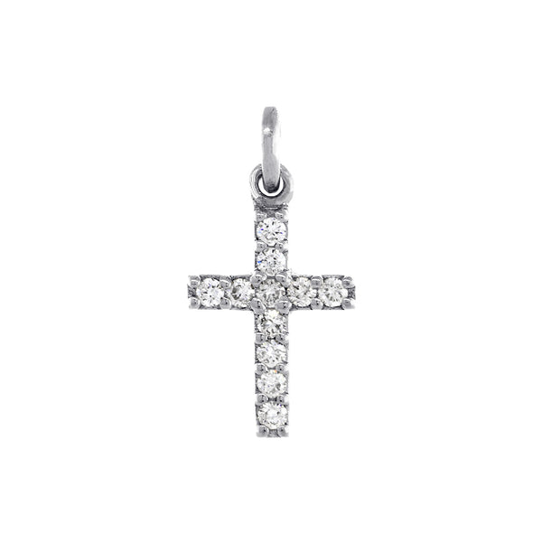 Small Diamond Cross Charm, 0.11CT in 14K White Gold