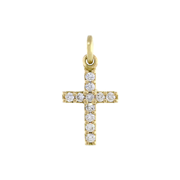 Mini Diamond Cross Charm in 14K Yellow Gold