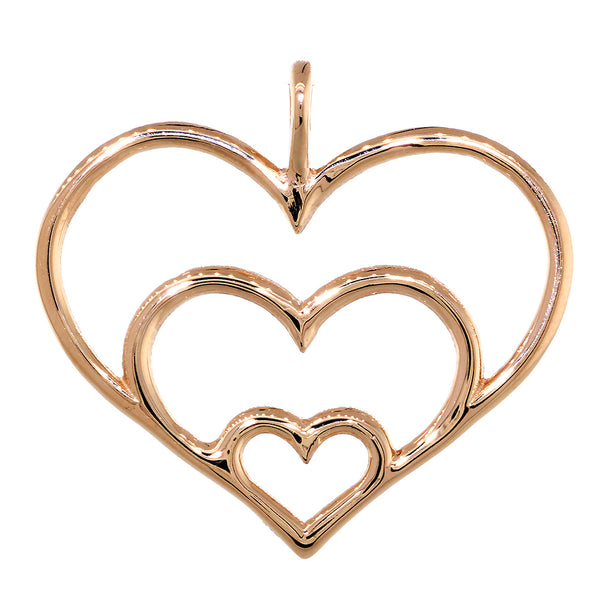 Triple Hearts Charm, 23mm in 14K Pink, Rose Gold