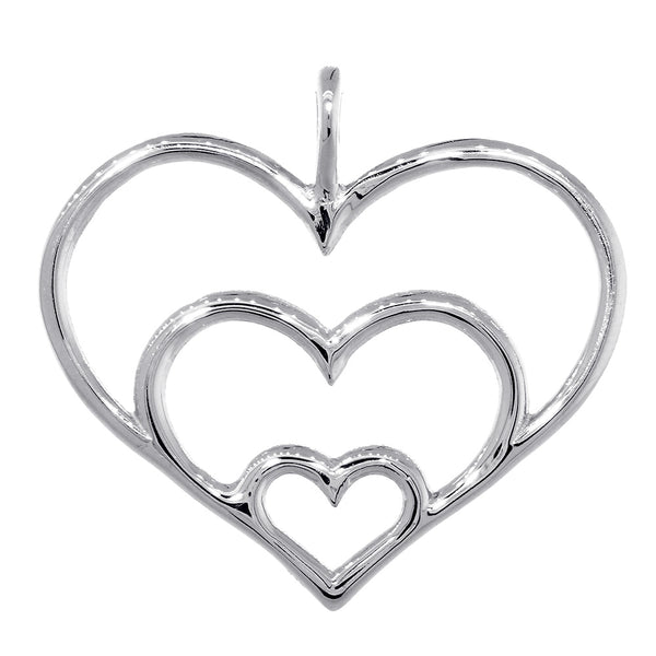 Triple Hearts Charm, 23mm in Sterling Silver