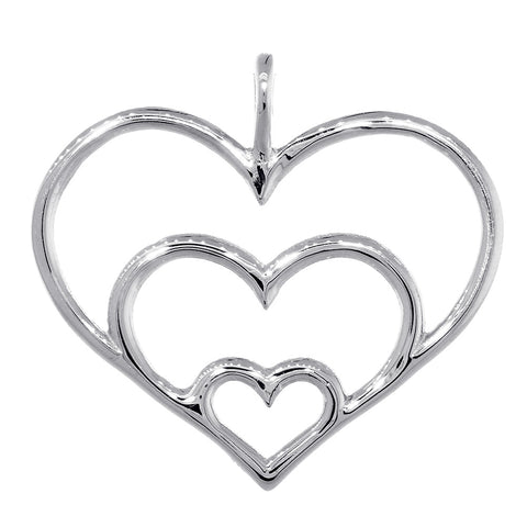 Triple Hearts Charm, 23mm in 14K White Gold