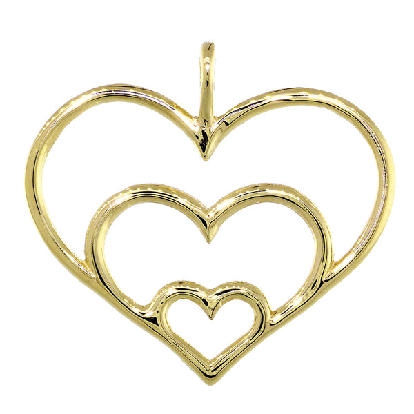 Triple Hearts Charm, 23mm in 14K Yellow Gold