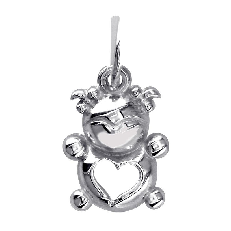 Mini Baby Girl Charm in 14K White Gold