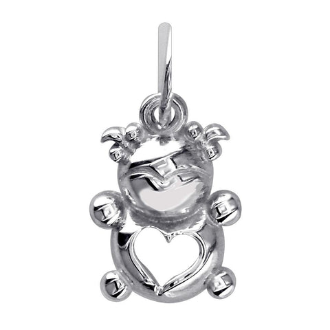 Mini Baby Girl Charm in Sterling Silver