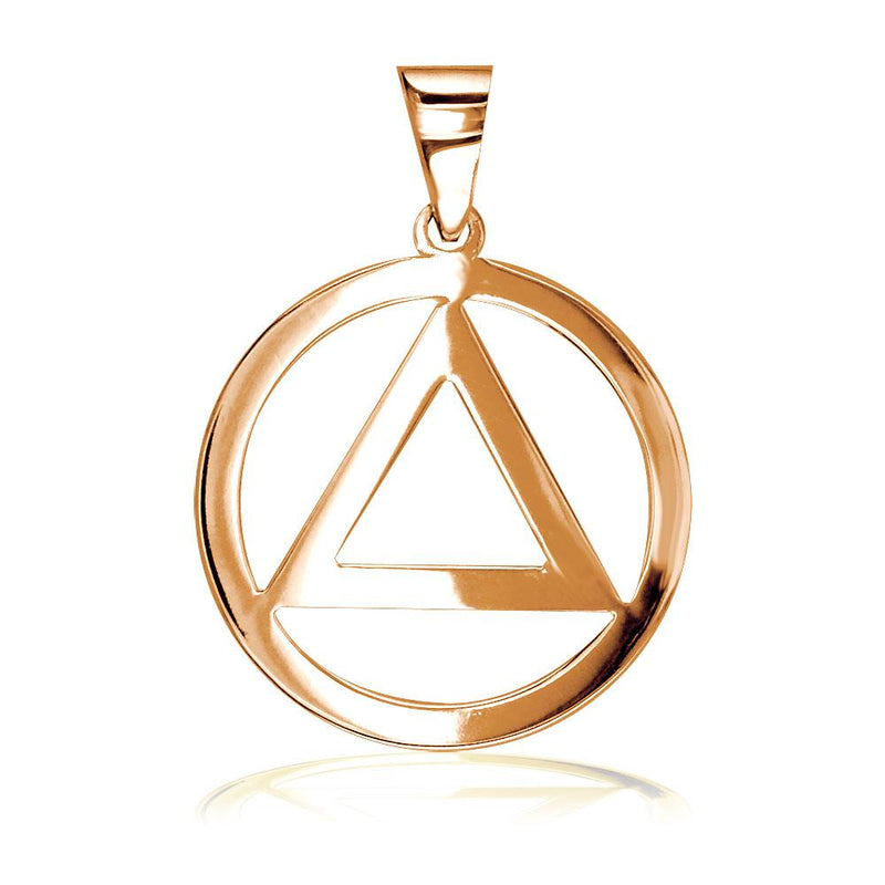 Medium AA Sobriety Charm in 18K Pink, Rose Gold