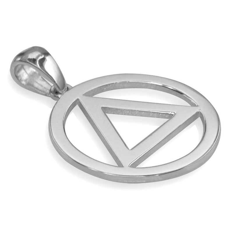 Medium AA Sobriety Charm in 18K White gold