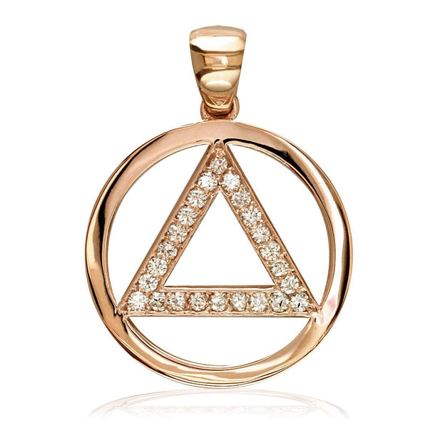 Cubic Zirconia AA Alcoholics Anonymous Sobriety Pendant in 14K Pink, Rose Gold