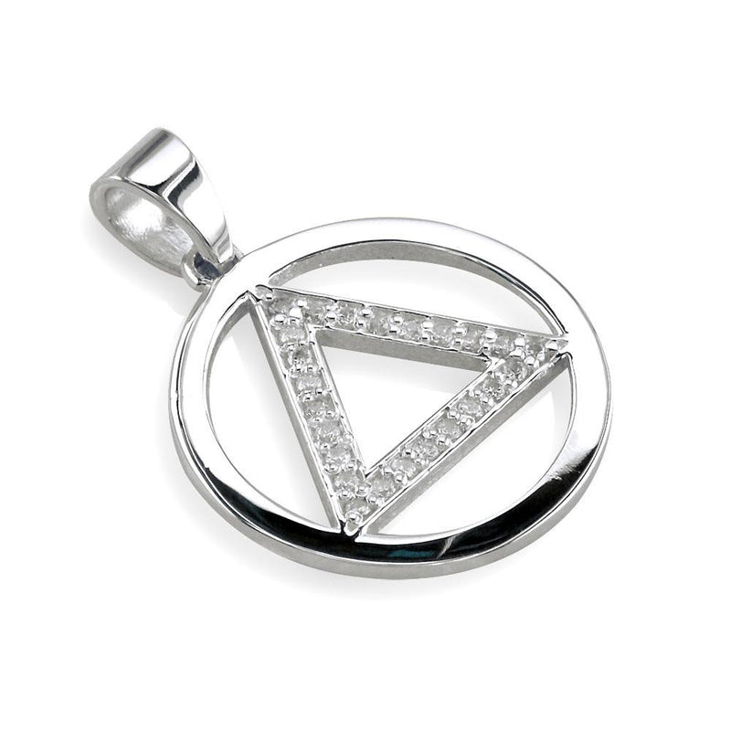 Cubic Zirconia AA Alcoholics Anonymous Sobriety Pendant in Sterling Silver