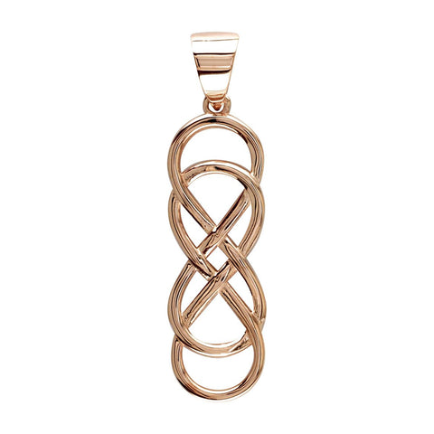 Extra Large Double Infinity Symbol Charm, Lovers Charm, Eternal and Infinite Love Charm, 1.5 inches in 18K rose (pink) gold