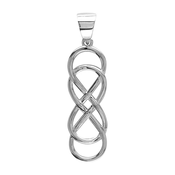 Extra Large Double Infinity Symbol Charm, Lovers Charm, Eternal and Infinite Love Charm, 1.5 inches in 18K white gold