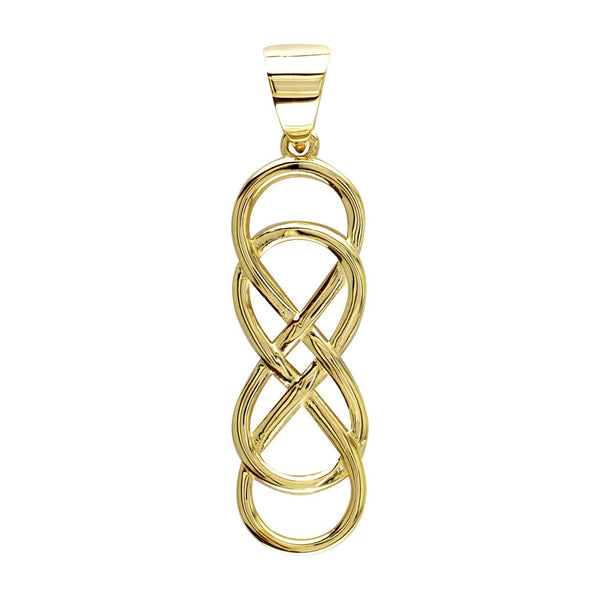 Extra Large Double Infinity Symbol Charm in 14K Yellow Gold, 1.5""
