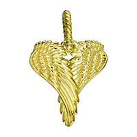 Large Angel Heart Wings, Wings Of Love, 21mm in 14K Yellow Gold
