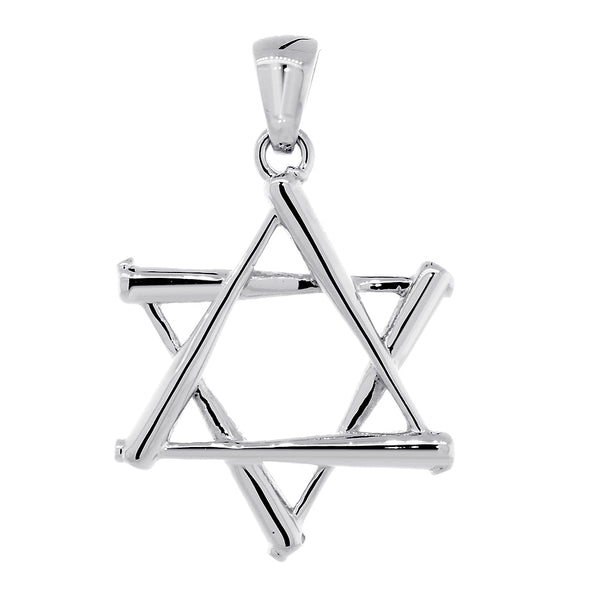 Large Jewish Star of David Baseball Bats Charm in Sterling Silver