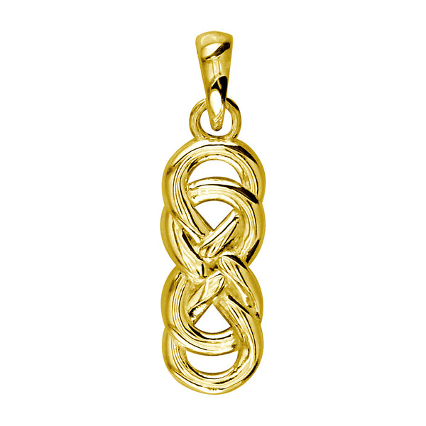 Medium Thick Double Infinity Symbol Charm, 16mm in 18k Yellow Gold