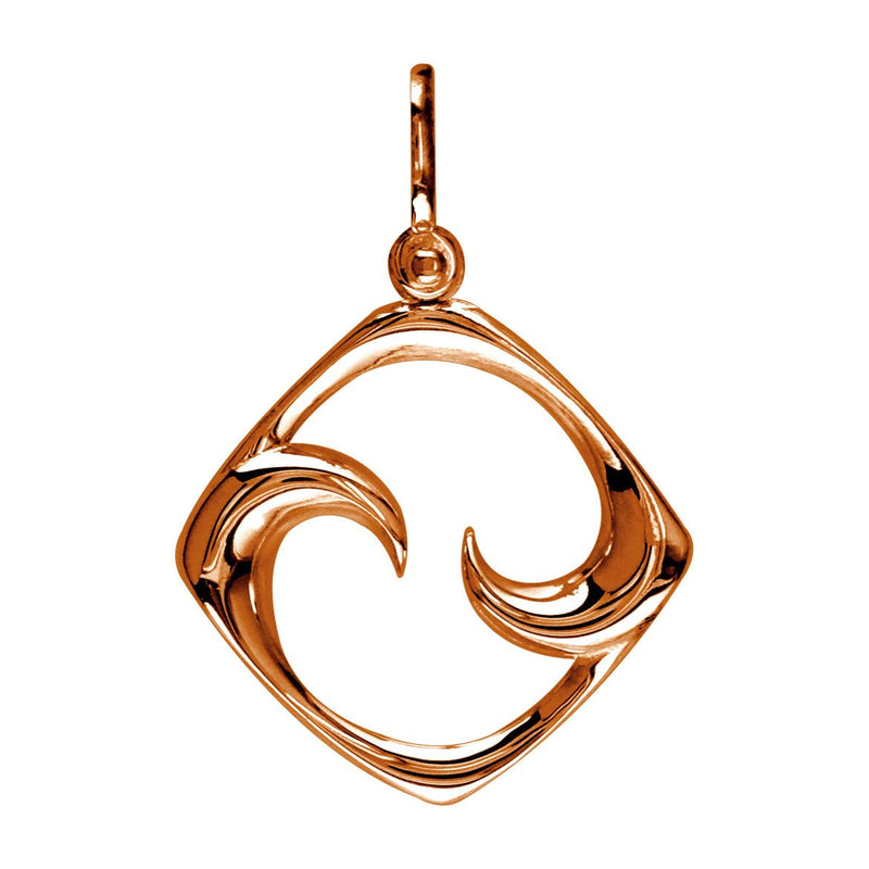 Large Diamond Shape Maori Koru New Beginnings Charm with Two Curls in 14k Pink Gold