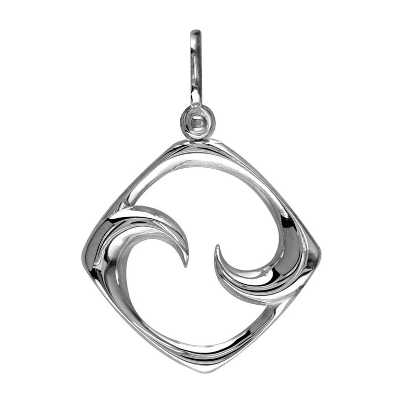 Large Diamond Shape Maori Koru New Beginnings Charm with Two Curls in 14k White Gold