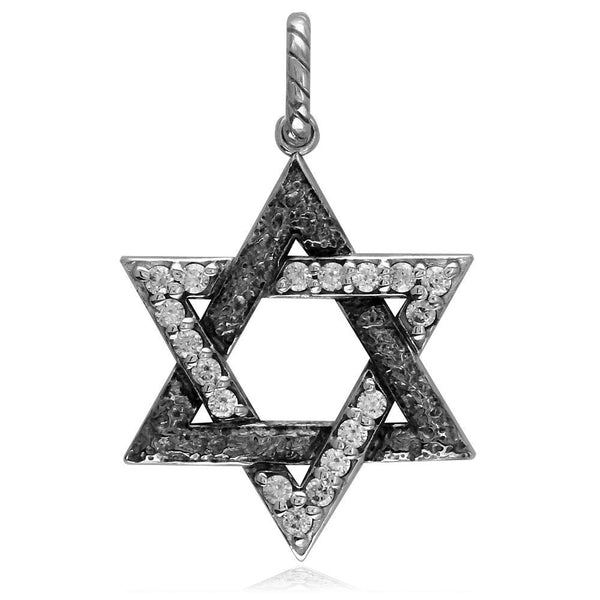 Large Jewish Star of David Charm with Cubic Zirconias and Black Stone Design in Sterling Silver