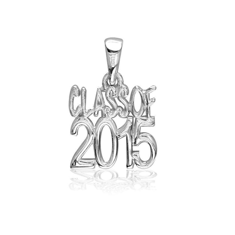 Small Class Of 2015 Graduation Charm in 14k White Gold