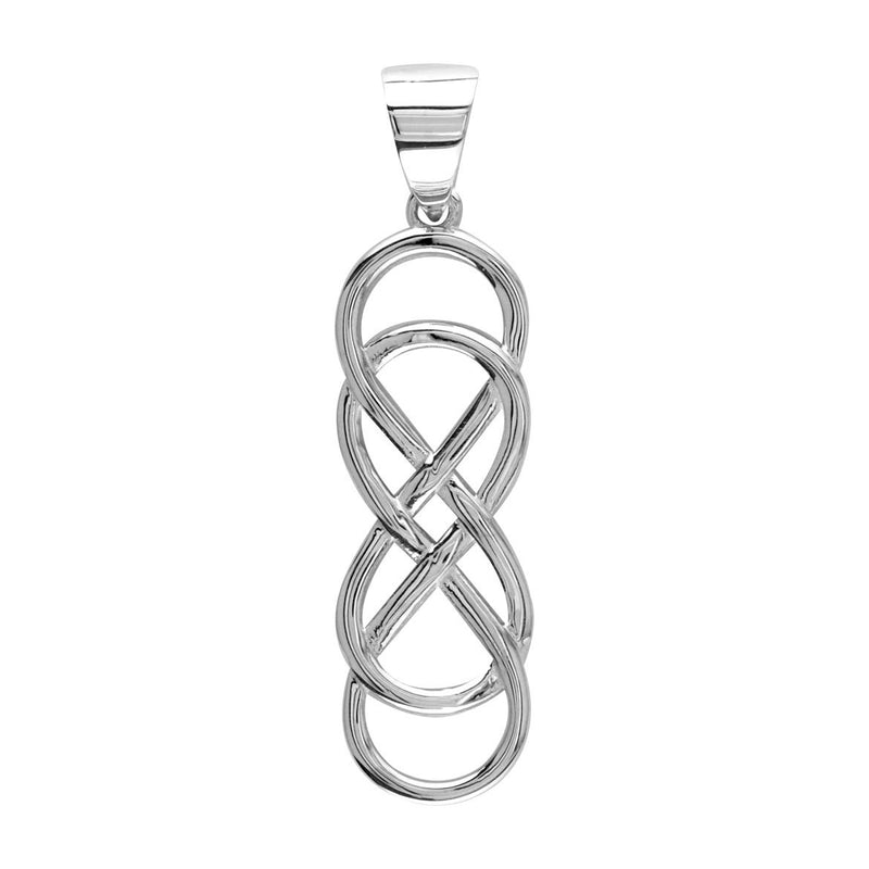 Large Double Infinity Symbol Charm, 30mm Long in Sterling Silver