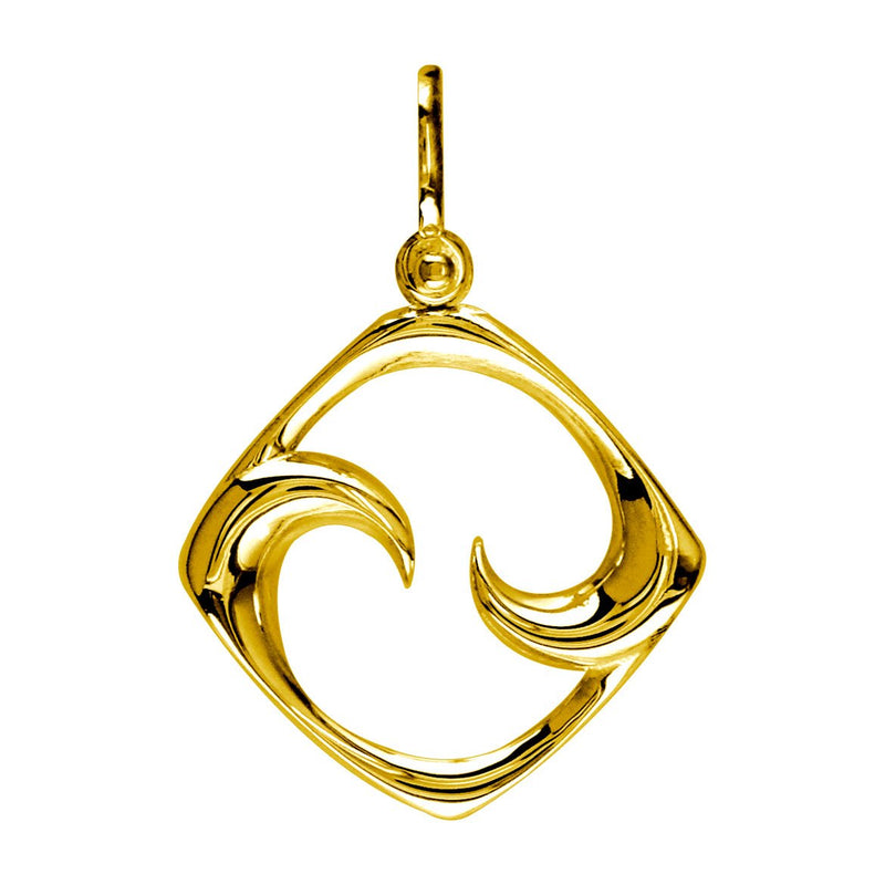 Medium Diamond Shape Maori Koru New Beginnings Charm with Two Curls in 14k Yellow Gold