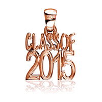 Large Class Of 2015 Graduation Charm in 14k Pink Gold