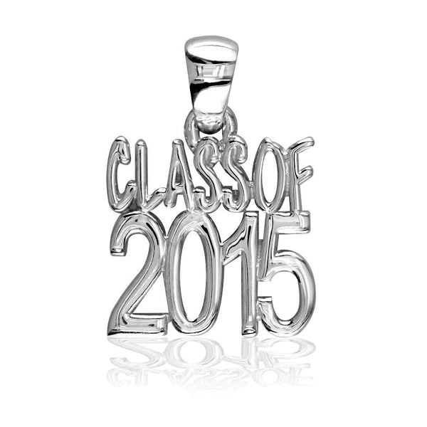Large Class Of 2015 Graduation Charm in 14k White Gold