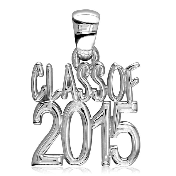 Large Class Of 2015 Graduation Charm in Sterling Silver