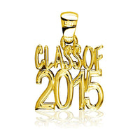 Large Class Of 2015 Graduation Charm in 18k Yellow Gold