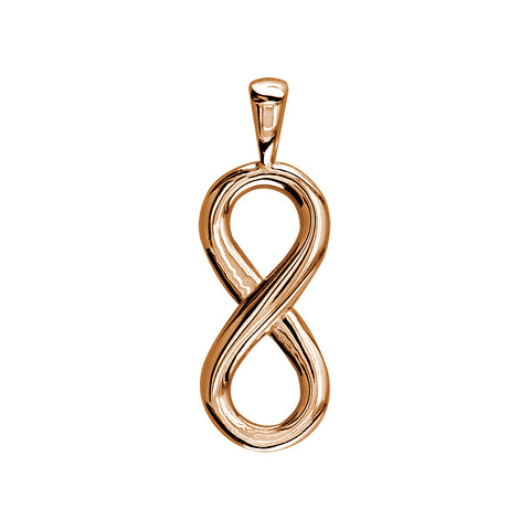 Small Flowing Infinity Charm, 20mm in 14k Pink, Rose Gold