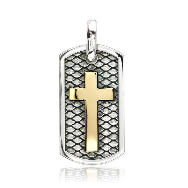 31mm Hardcore Metal Snake Skin Cross Pendant Dog Tag in 14K Yellow Gold and Sterling Silver