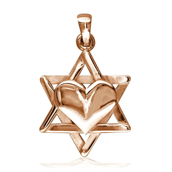 Small Heart and Jewish Star of David Sticks Charm in 14K Pink, Rose Gold