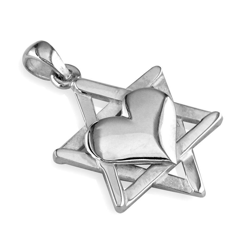 Small Heart and Jewish Star of David Sticks Charm in 14K White Gold