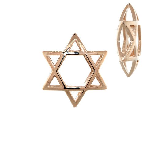 21mm 3D Open Domed Jewish Star of David in 14k Pink, Rose Gold
