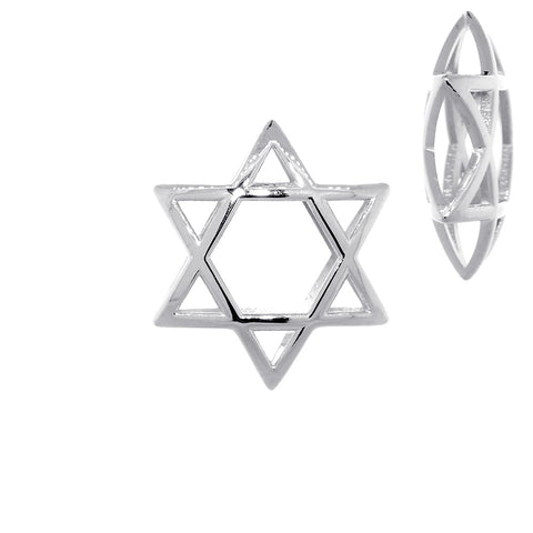 21mm 3D Open Domed Jewish Star of David in 14k White Gold