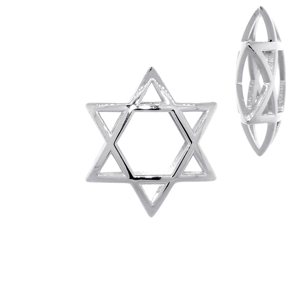 21mm 3D Open Domed Jewish Star of David in Sterling Silver