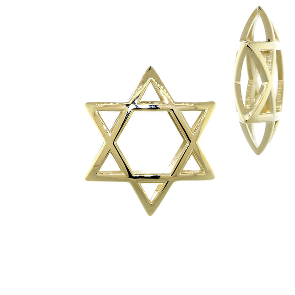 21mm 3D Open Domed Jewish Star of David in 14k Yellow Gold