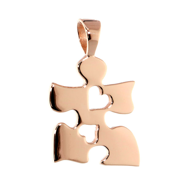 Autism Awareness Puzzle Piece Charm with 2 Open Hearts in 14K Pink Gold, 20mm