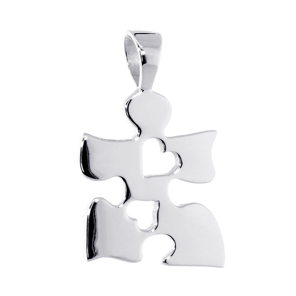 Autism Awareness Puzzle Piece Charm with 2 Open Hearts in Sterling Silver, 20mm