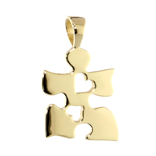 Autism Awareness Puzzle Piece Charm with 2 Open Hearts in 14K Yellow Gold, 20mm