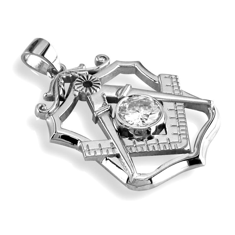 Large Masonic Charm with a Cubic Zirconia in Sterling Silver