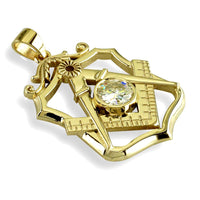Large Masonic Charm with a Cubic Zirconia in 14K Yellow Gold